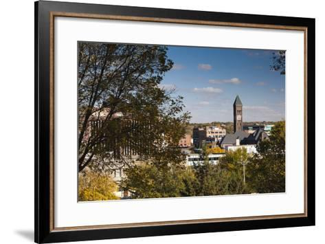 Elevated Skyline with Old Courthouse, Sioux Falls, South Dakota, USA-Walter Bibikow-Framed Art Print