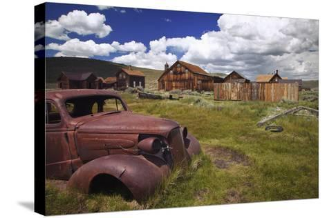 Wood Buildings and Old Car, Bodie State Historic Park, California, USA-Jaynes Gallery-Stretched Canvas Print