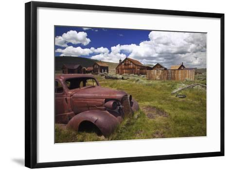 Wood Buildings and Old Car, Bodie State Historic Park, California, USA-Jaynes Gallery-Framed Art Print