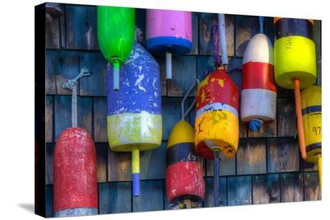 Buoys on an Old Shed at Bernard, Maine, USA-Joanne Wells-Stretched Canvas Print