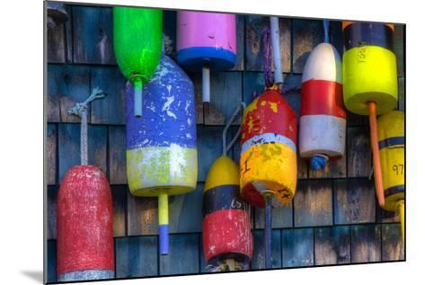 Buoys on an Old Shed at Bernard, Maine, USA-Joanne Wells-Mounted Photographic Print