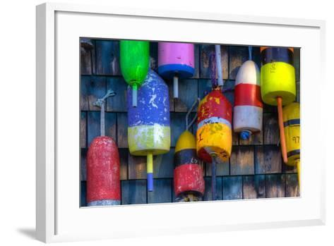 Buoys on an Old Shed at Bernard, Maine, USA-Joanne Wells-Framed Art Print