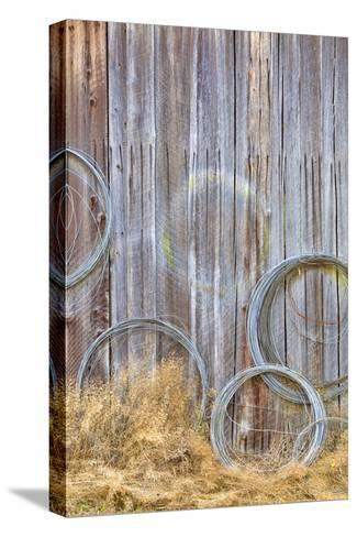 Wire Coiled on Barn Wall, Petersen Farm, Silverdale, Washington, USA-Jaynes Gallery-Stretched Canvas Print