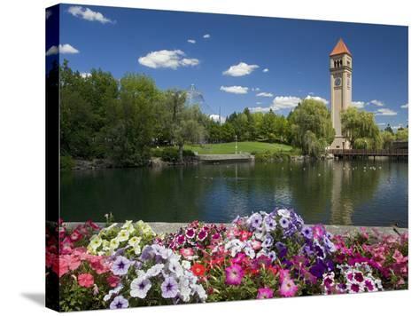 Clock Tower, Spokane River, Riverfront Park, Spokane, Washington, USA-Charles Gurche-Stretched Canvas Print