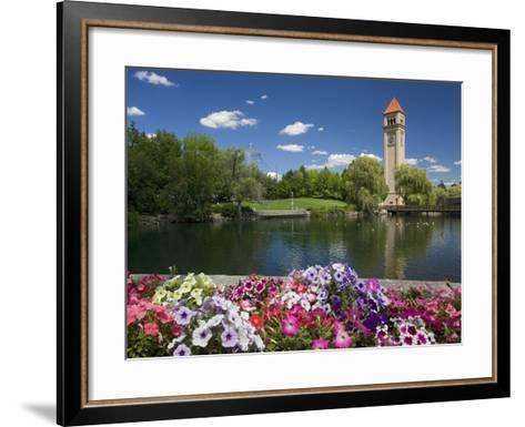 Clock Tower, Spokane River, Riverfront Park, Spokane, Washington, USA-Charles Gurche-Framed Art Print