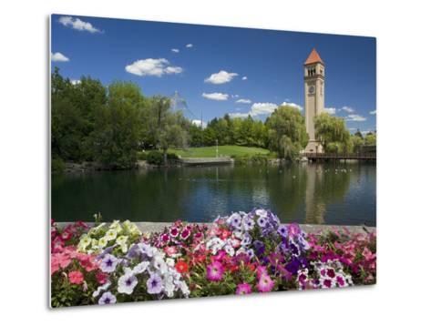 Clock Tower, Spokane River, Riverfront Park, Spokane, Washington, USA-Charles Gurche-Metal Print