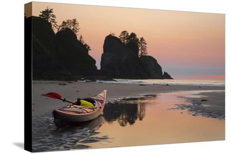 Canoe on a Beach at Sunset, Washington, USA-Gary Luhm-Stretched Canvas Print