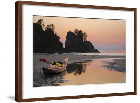 Canoe on a Beach at Sunset, Washington, USA-Gary Luhm-Framed Art Print