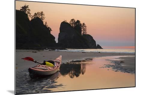 Canoe on a Beach at Sunset, Washington, USA-Gary Luhm-Mounted Photographic Print