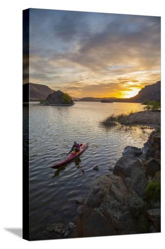 Sea Kayaker Paddling at Sunrise, Alkili Lake, Washington, USA-Gary Luhm-Stretched Canvas Print