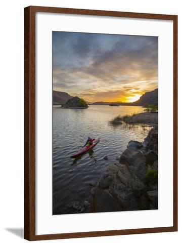 Sea Kayaker Paddling at Sunrise, Alkili Lake, Washington, USA-Gary Luhm-Framed Art Print
