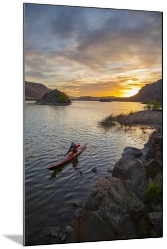 Sea Kayaker Paddling at Sunrise, Alkili Lake, Washington, USA-Gary Luhm-Mounted Photographic Print