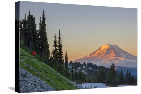 Man on Trail, Mt Adams Back, Goat Rocks Wilderness, Washington, USA-Gary Luhm-Stretched Canvas Print