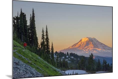 Man on Trail, Mt Adams Back, Goat Rocks Wilderness, Washington, USA-Gary Luhm-Mounted Photographic Print