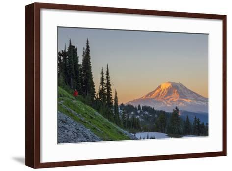 Man on Trail, Mt Adams Back, Goat Rocks Wilderness, Washington, USA-Gary Luhm-Framed Art Print