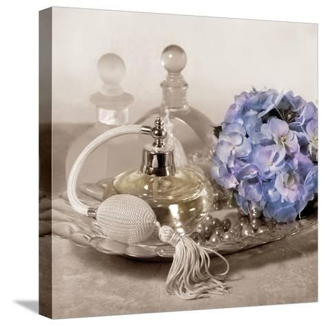 Hydrangea and Tray-Julie Greenwood-Stretched Canvas Print