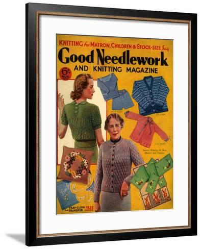 1930s UK Good Needlework and Knitting Magazine Cover--Framed Art Print