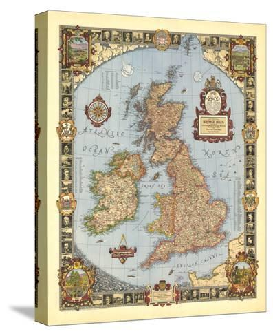 1937 A Modern Pilgrim's Map of the British Isles-National Geographic Maps-Stretched Canvas Print