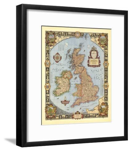 1937 A Modern Pilgrim's Map of the British Isles-National Geographic Maps-Framed Art Print