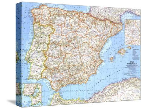 1965 Spain and Portugal-National Geographic Maps-Stretched Canvas Print