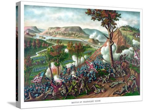 American Civil War Print Featuring the Battle of Missionary Ridge--Stretched Canvas Print