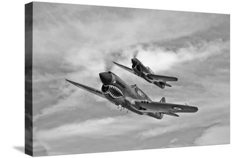 Two Curtiss P-40 Warhawks in Flight Near Nampa, Idaho--Stretched Canvas Print