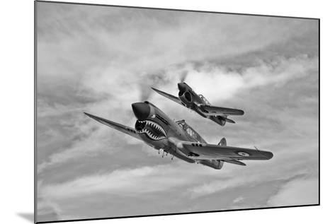 Two Curtiss P-40 Warhawks in Flight Near Nampa, Idaho--Mounted Photographic Print