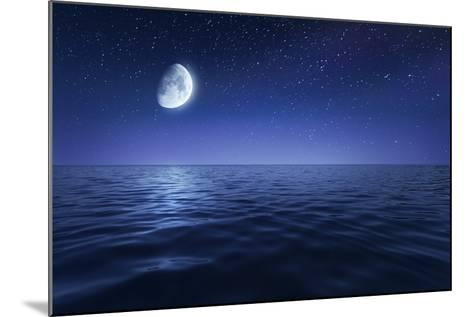 Tranquil Seas Against Rising Moon in a Starry Sky, Crete, Greece--Mounted Photographic Print