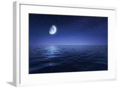 Tranquil Seas Against Rising Moon in a Starry Sky, Crete, Greece--Framed Art Print