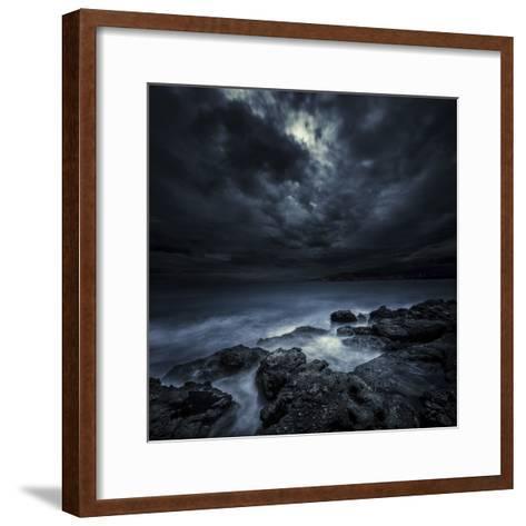 Black Rocks Protruding Through Rough Seas with Stormy Clouds, Crete, Greece--Framed Art Print