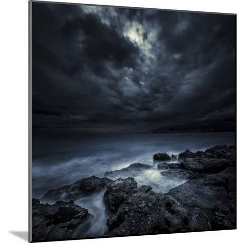 Black Rocks Protruding Through Rough Seas with Stormy Clouds, Crete, Greece--Mounted Photographic Print