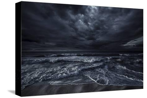 Rough Seaside Against Stormy Clouds, Hersonissos, Crete, Greece--Stretched Canvas Print