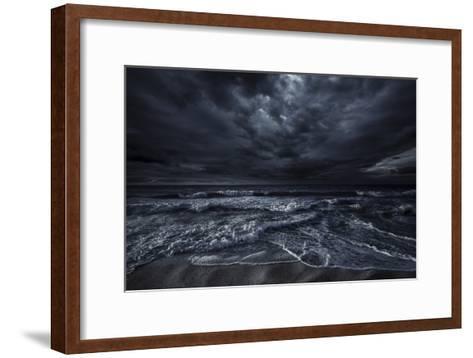 Rough Seaside Against Stormy Clouds, Hersonissos, Crete, Greece--Framed Art Print