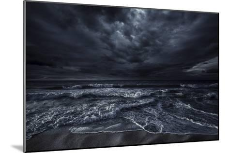 Rough Seaside Against Stormy Clouds, Hersonissos, Crete, Greece--Mounted Photographic Print