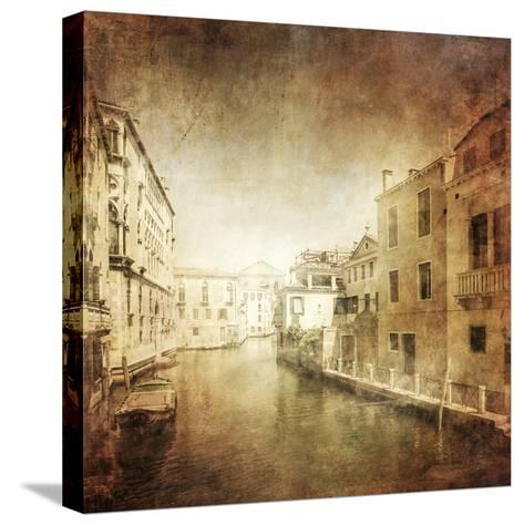 Vintage Photo of Venetian Canal, Venice, Italy--Stretched Canvas Print