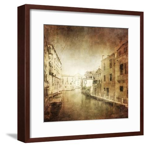 Vintage Photo of Venetian Canal, Venice, Italy--Framed Art Print
