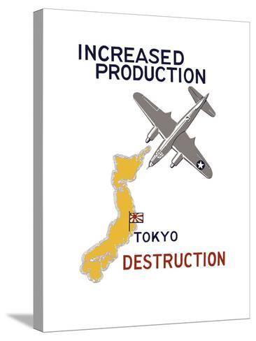 World War II Propaganda Poster Featuring a Bomber Flying over Japan--Stretched Canvas Print
