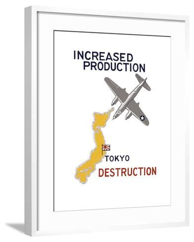 World War II Propaganda Poster Featuring a Bomber Flying over Japan--Framed Art Print