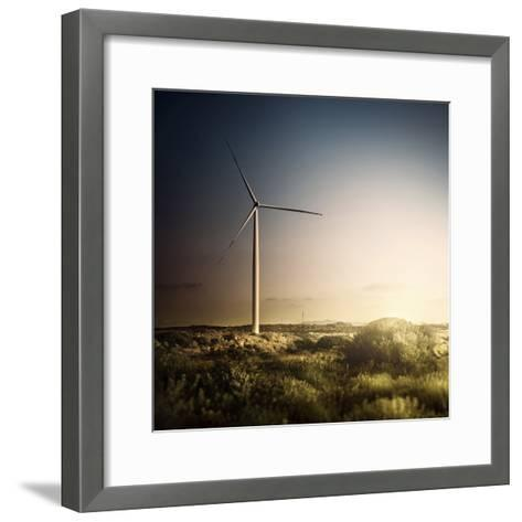 Wind Turbine in a Field in the Evening, Sardinia, Italy--Framed Art Print