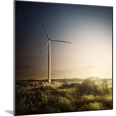 Wind Turbine in a Field in the Evening, Sardinia, Italy--Mounted Photographic Print