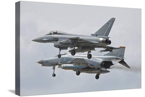 Eurofighter Typhoon and its Precedessor, the F-4F Phantom--Stretched Canvas Print