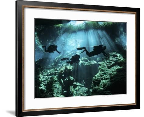 Diver Enters the Cavern System in the Riviera Maya Area of Mexico--Framed Art Print