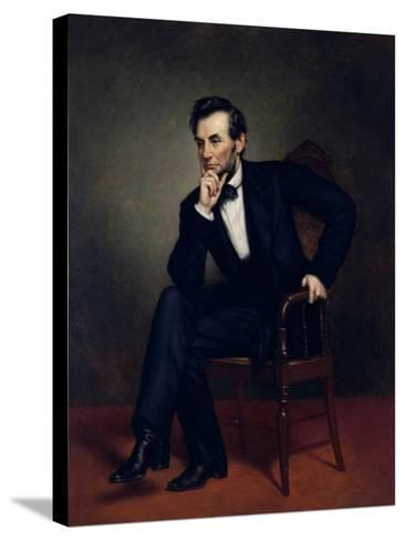 American Civil War Painting of President Abraham Lincoln Seated in a Chair--Stretched Canvas Print