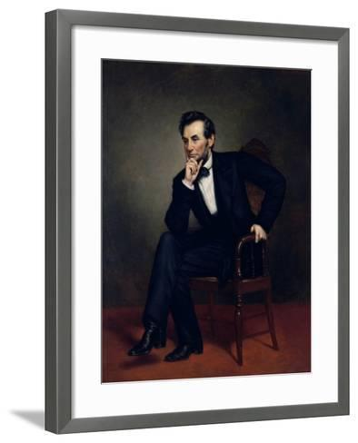 American Civil War Painting of President Abraham Lincoln Seated in a Chair--Framed Art Print