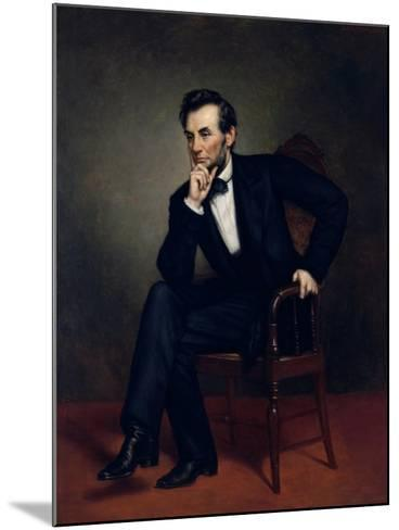 American Civil War Painting of President Abraham Lincoln Seated in a Chair--Mounted Art Print