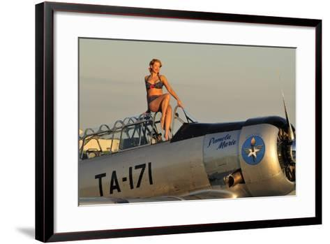 1940's Style Pin-Up Girl Sitting on the Cockpit of a World War II T-6 Texan--Framed Art Print