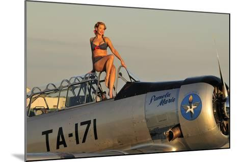 1940's Style Pin-Up Girl Sitting on the Cockpit of a World War II T-6 Texan--Mounted Photographic Print
