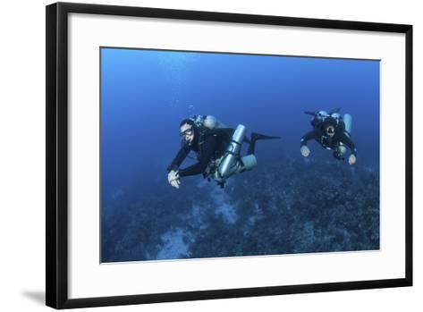 Technical Divers with Equipment Swimming in Caribbean Reef--Framed Art Print