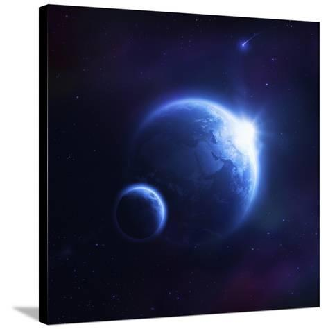 Earth and Moon in Outer Space with Rising Sun and Flying Meteorites--Stretched Canvas Print