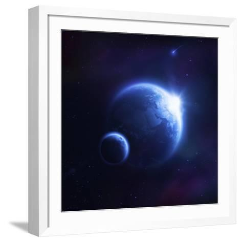 Earth and Moon in Outer Space with Rising Sun and Flying Meteorites--Framed Art Print